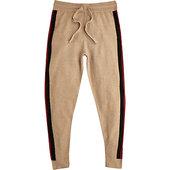 River Island Pantalon De Jogging Slim En Maille Marron à Bandes Latérales