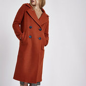 River Island Manteau Long Croisé Marron