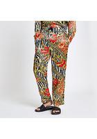 River Island Jaded - Pantalon à Imprimé Zèbre Jaune