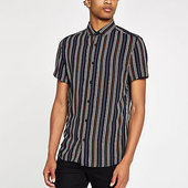 River Island Black Stripe And Aztec Print Shirt