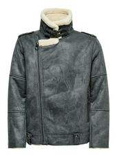 Only & Sons Motard Veste Simili Men Grey