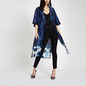 River Island Kimono Bleu à Fleurs Noué à L'avant