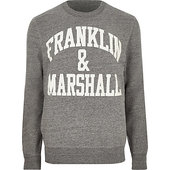 River Island Franklin & Marshall - Pull Ras-du-cou Gris
