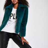 River Island Dark Blue Faux Fur Coat