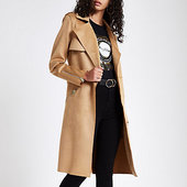 River Island Trench En Suédine Marron