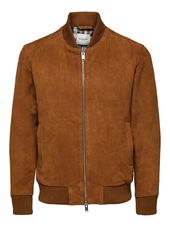 Selected Daim - Veste En Cuir Men Brown
