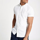 River Island Chemise Oxford Blanche à Broderie Guêpe