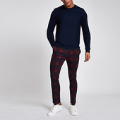 River Island Pantalon Chino Skinny à Carreaux Rouge