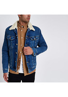 River Island Lee - Veste Camionneur En Denim Bleue Avec Col Imitation Peau De Mouton
