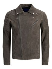 Jack & Jones Daim Motard Veste En Cuir Men Brown