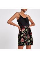 River Island Mini-jupe à Fleurs Noire Style Motard