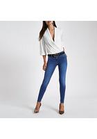 River Island Molly - Jegging En Jean Bleu Taille Mi-haute