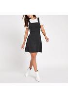 River Island Mini-robe Chasuble Rayée Noire Avec Ceinture à Anneau En D