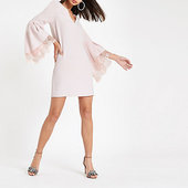 River Island Pink Lace Trim Flared Sleeve Swing Dress