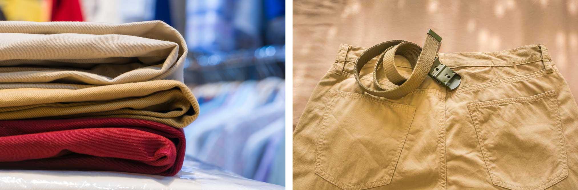 Des pantalons chinos de différentes couleurs